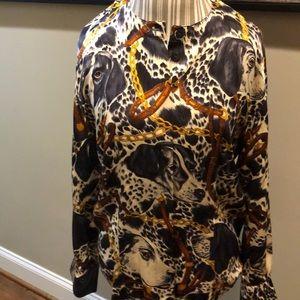 Escada Blouse 100% silk, dog print, vintage